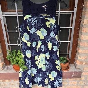 LOFT Factory navy floral lace yoke a-line dress 10